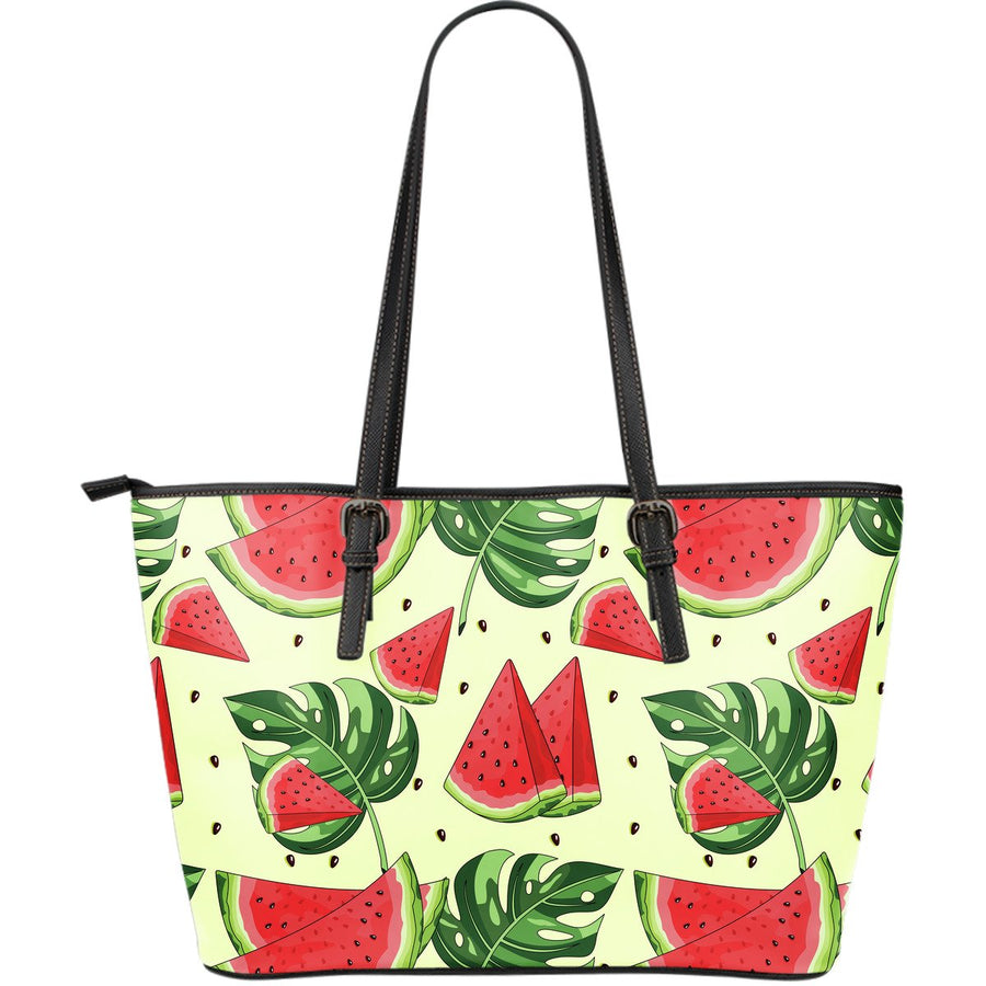 Cute Tropical Watermelon Pattern Print Leather Tote Bag GearFrost