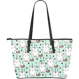Cute Unicorn Cat Pattern Print Leather Tote Bag GearFrost