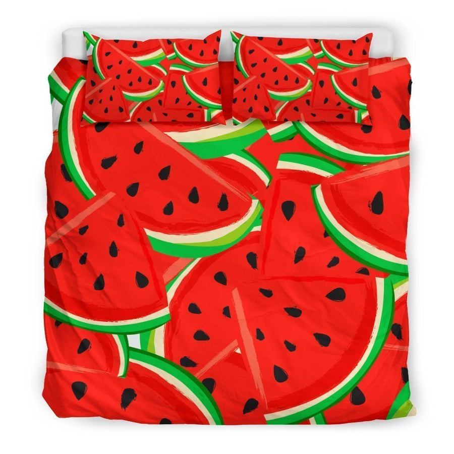 Cute Watermelon Pieces Pattern Print Duvet Cover Bedding Set GearFrost