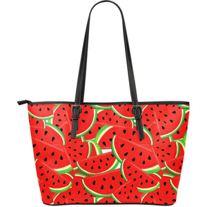 Cute Watermelon Pieces Pattern Print Leather Tote Bag GearFrost