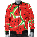 Cute Watermelon Pieces Pattern Print Men's Bomber Jacket GearFrost