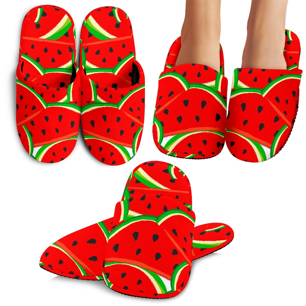 Cute Watermelon Pieces Pattern Print Slippers GearFrost