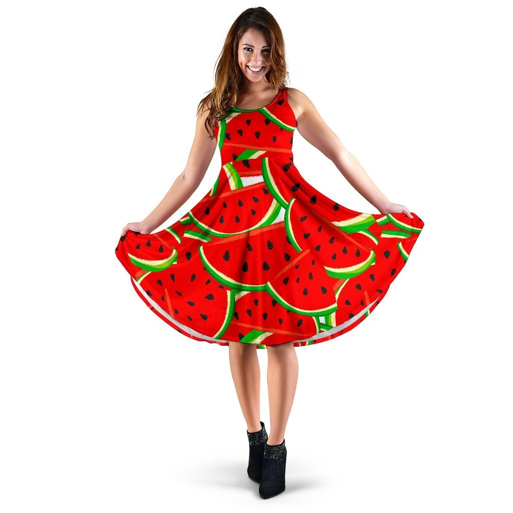 Cute Watermelon Pieces Pattern Print Women's Dress GearFrost