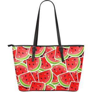 Cute Watermelon Slices Pattern Print Leather Tote Bag GearFrost
