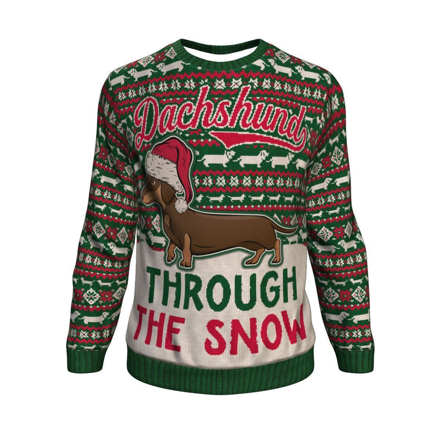 Dachshund Through The Snow Ugly Christmas Unisex Crewneck Sweatshirt GearFrost