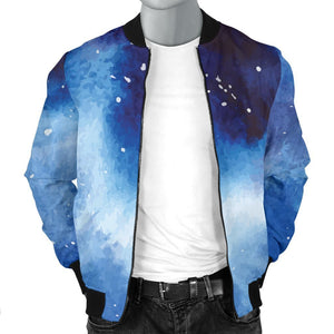 Dark Blue Galaxy Space Print Men's Bomber Jacket GearFrost