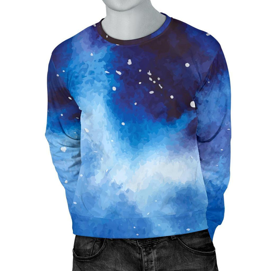 Dark Blue Galaxy Space Print Men's Crewneck Sweatshirt GearFrost