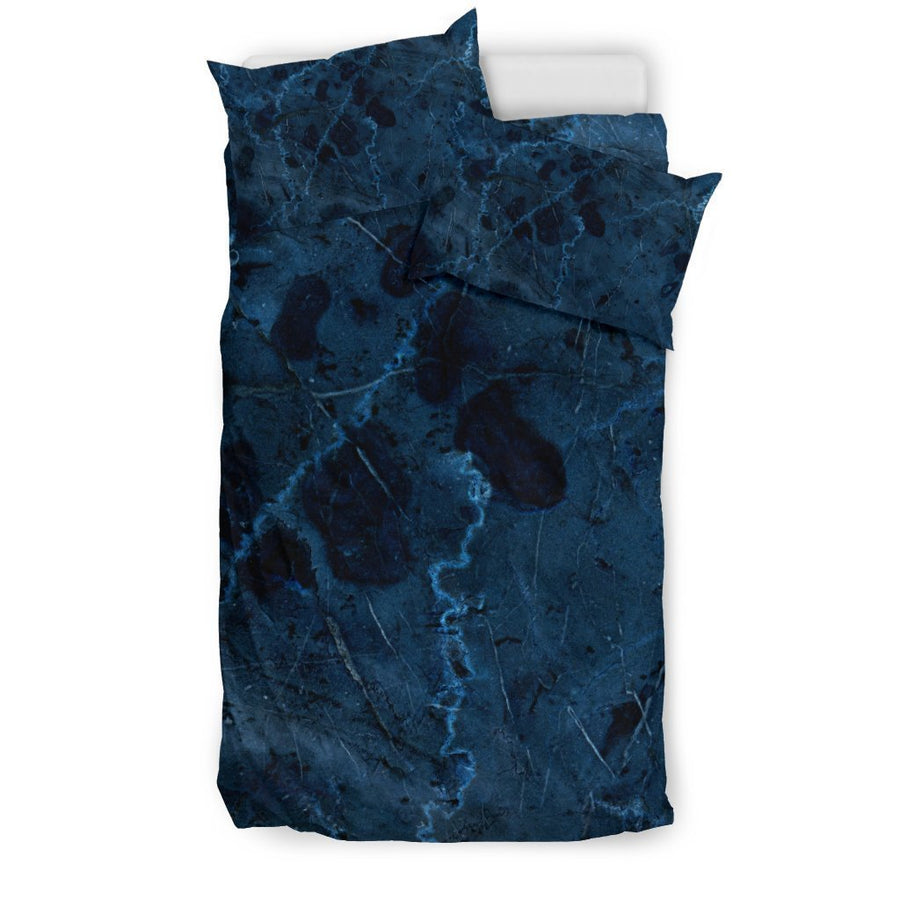 Dark Blue Marble Print Duvet Cover Bedding Set GearFrost
