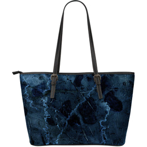 Dark Blue Marble Print Leather Tote Bag GearFrost