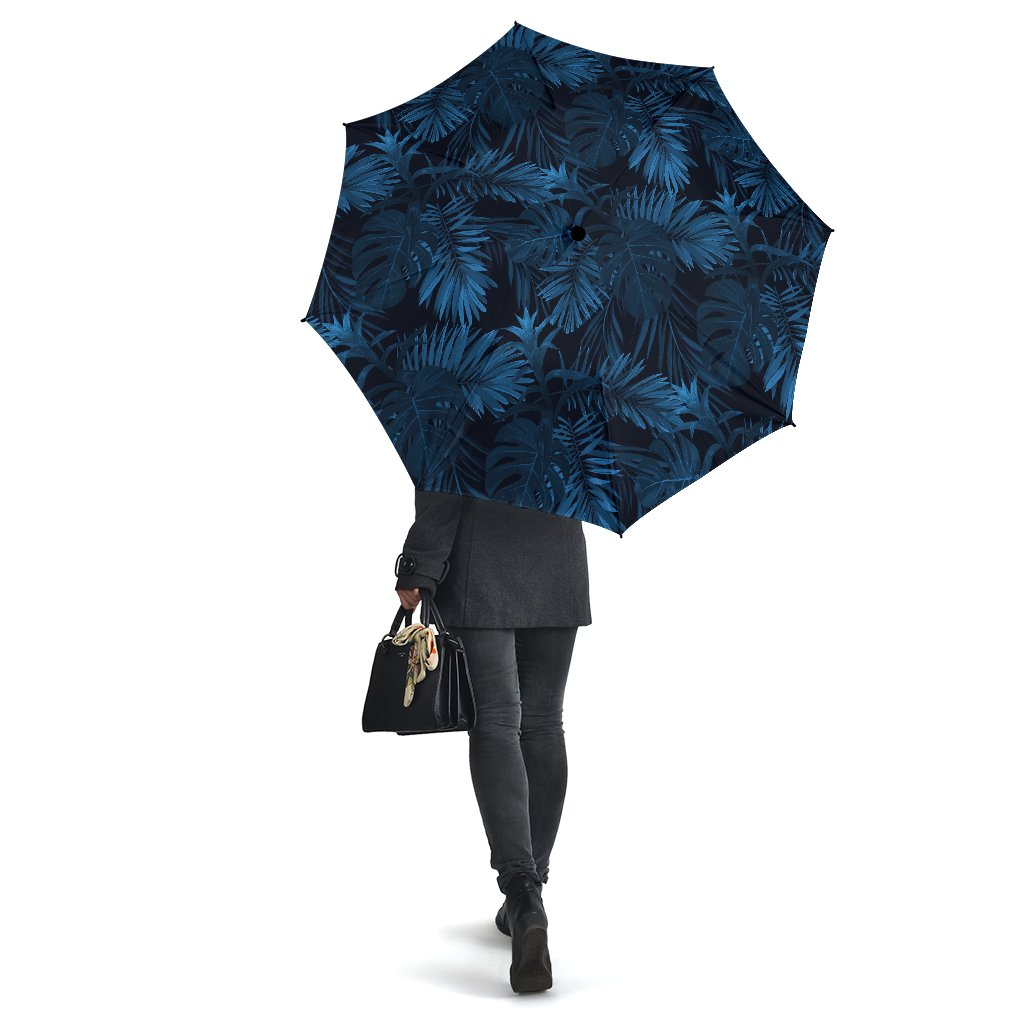 Dark Blue Tropical Leaf Pattern Print Foldable Umbrella GearFrost