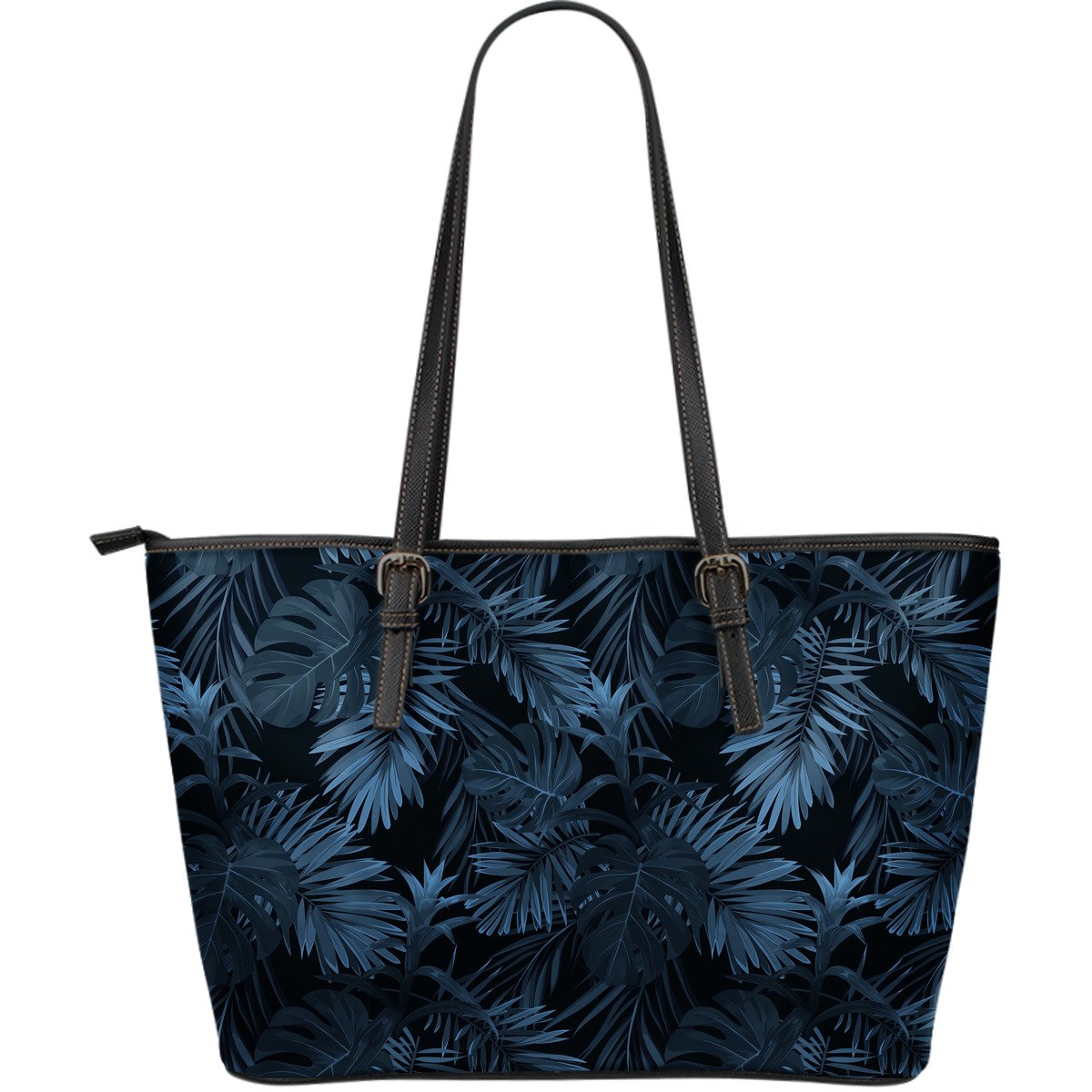 Dark Blue Tropical Leaf Pattern Print Leather Tote Bag GearFrost