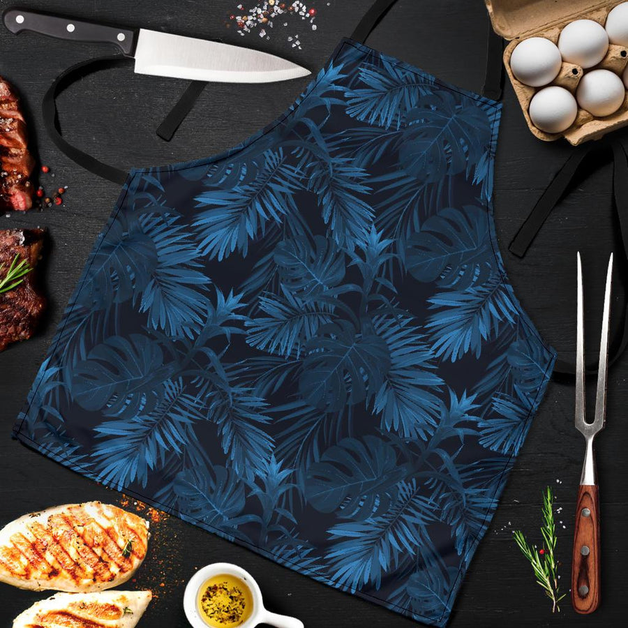 Dark Blue Tropical Leaf Pattern Print Men's Apron GearFrost