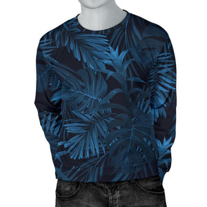 Dark Blue Tropical Leaf Pattern Print Men's Crewneck Sweatshirt GearFrost