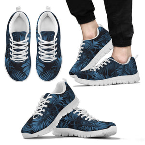 Dark Blue Tropical Leaf Pattern Print Men's Sneakers GearFrost
