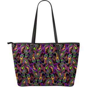 Dark Bohemian Paisley Pattern Print Leather Tote Bag GearFrost