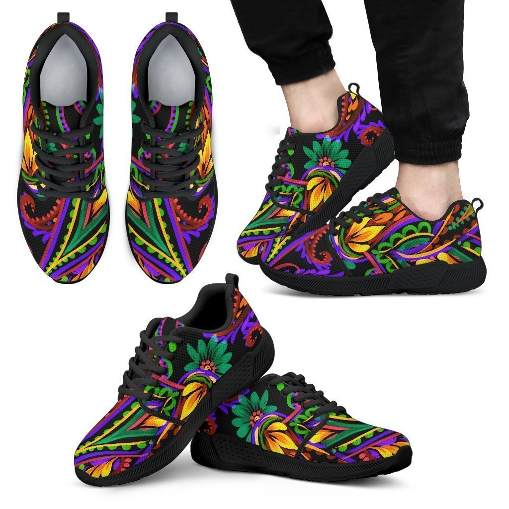 Dark Bohemian Paisley Pattern Print Men's Athletic Shoes GearFrost