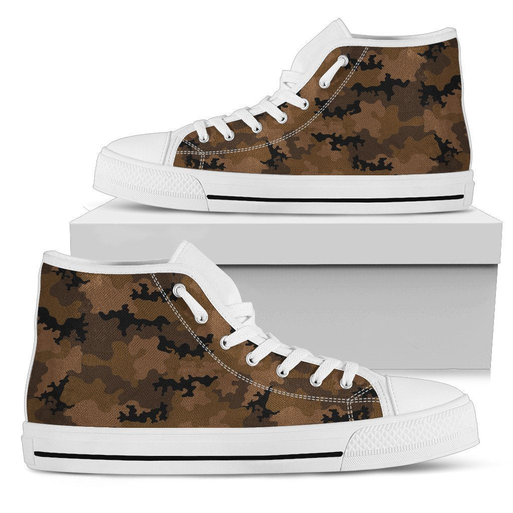 Dark Brown Camouflage Print Men's High Top Shoes GearFrost