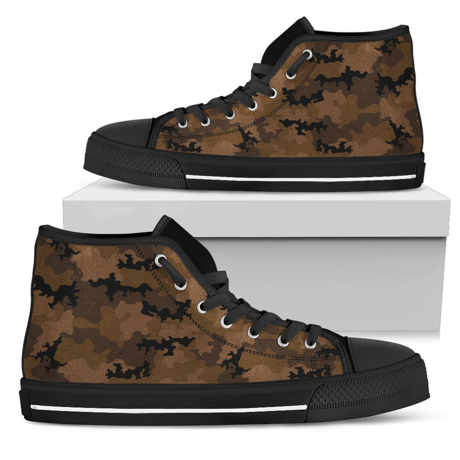 Dark Brown Camouflage Print Women's High Top Shoes GearFrost