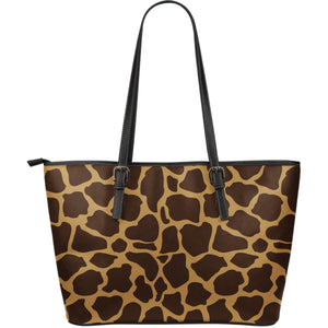 Dark Brown Cow Print Leather Tote Bag GearFrost
