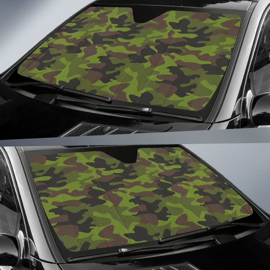 Dark Green And Black Camouflage Print Car Sun Shade GearFrost
