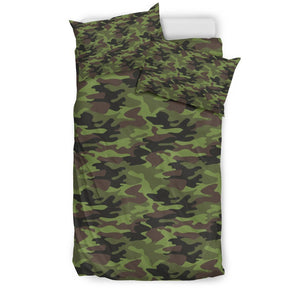 Dark Green And Black Camouflage Print Duvet Cover Bedding Set GearFrost