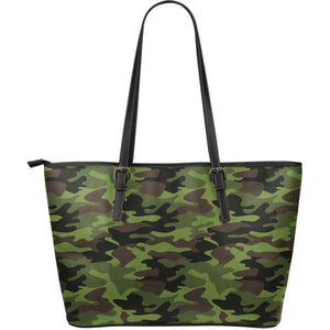 Dark Green And Black Camouflage Print Leather Tote Bag GearFrost