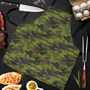 Dark Green And Black Camouflage Print Men's Apron GearFrost
