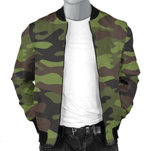 Dark Green And Black Camouflage Print Men's Bomber Jacket GearFrost