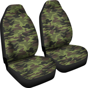 Dark Green And Black Camouflage Print Universal Fit Car Seat Covers GearFrost