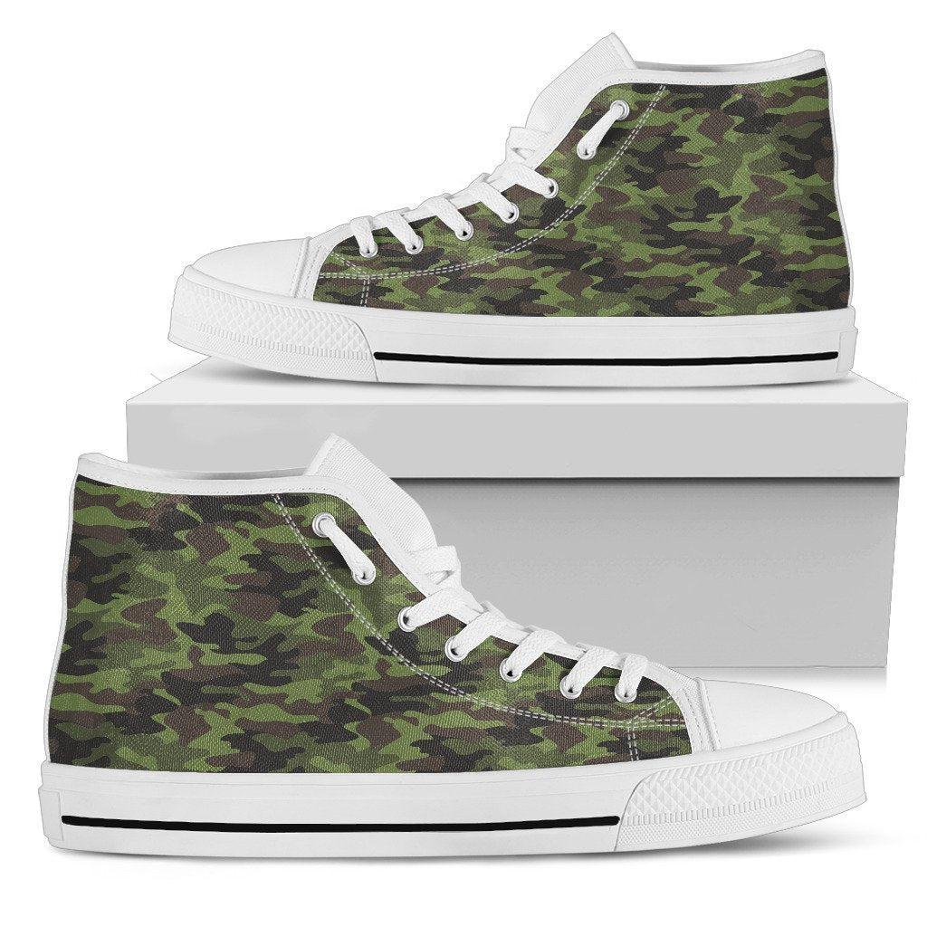 Dark Green And Black Camouflage Print Women's High Top Shoes GearFrost