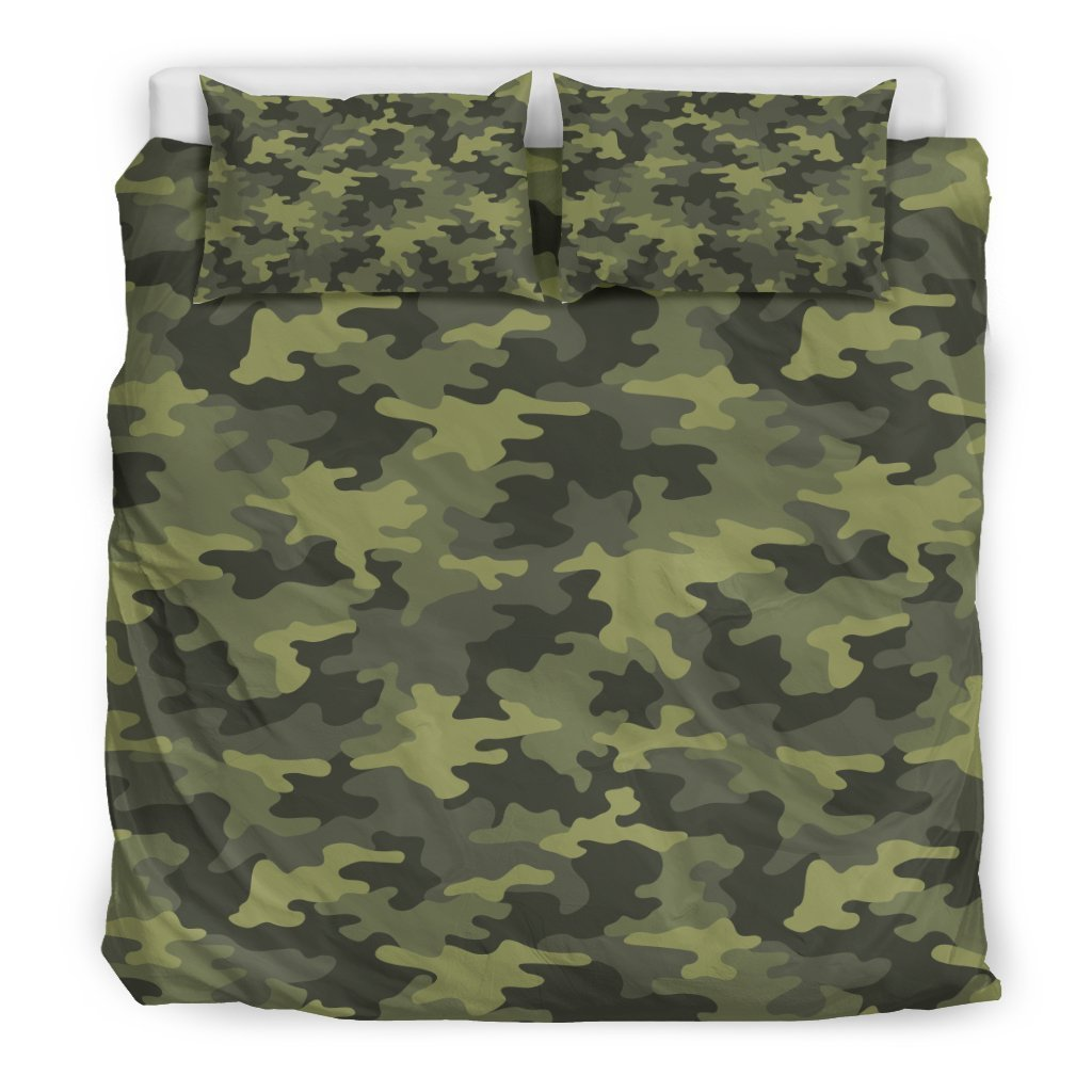 Dark Green Camouflage Print Duvet Cover Bedding Set GearFrost