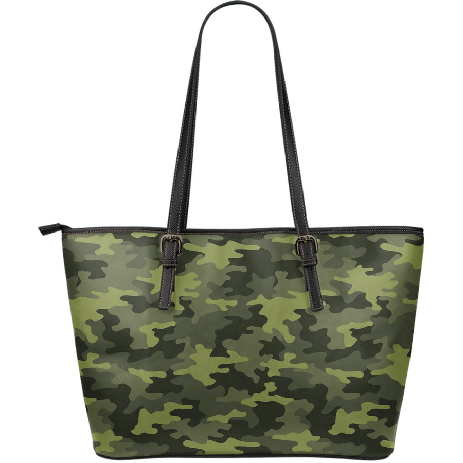 Dark Green Camouflage Print Leather Tote Bag GearFrost