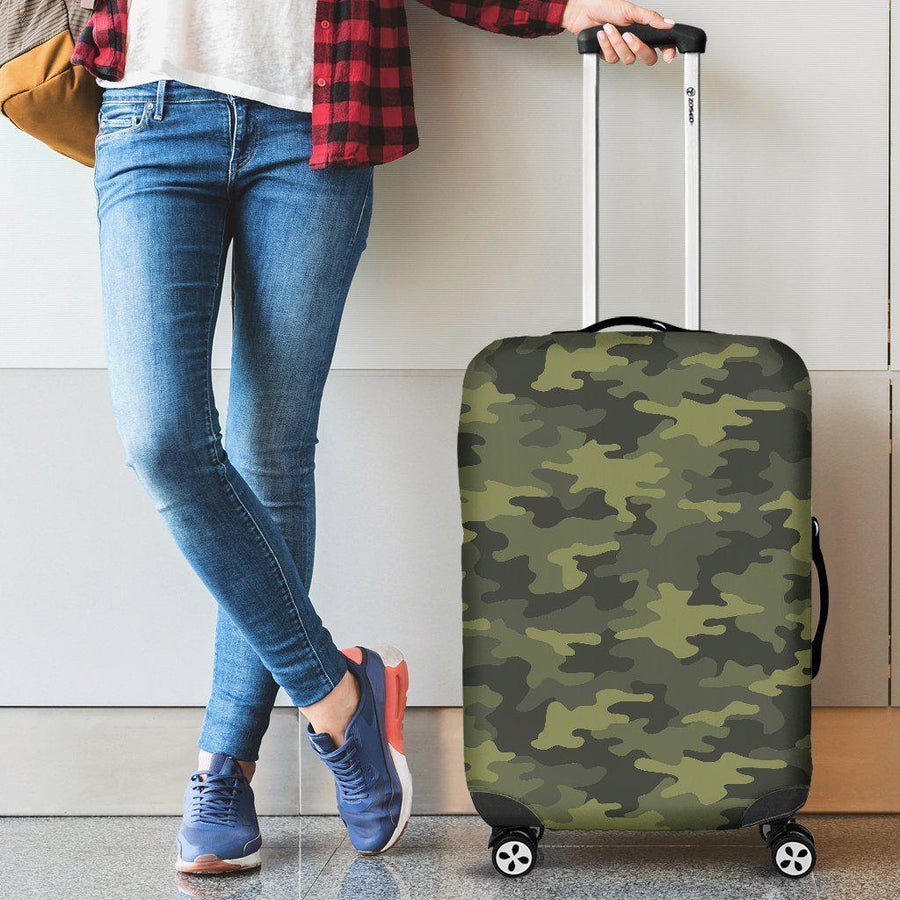 Dark Green Camouflage Print Luggage Cover GearFrost