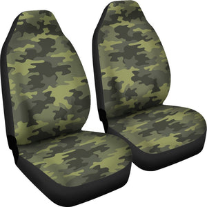 Dark Green Camouflage Print Universal Fit Car Seat Covers GearFrost