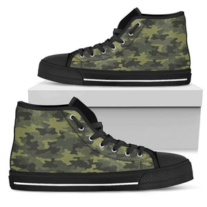 Dark Green Camouflage Print Women's High Top Shoes GearFrost