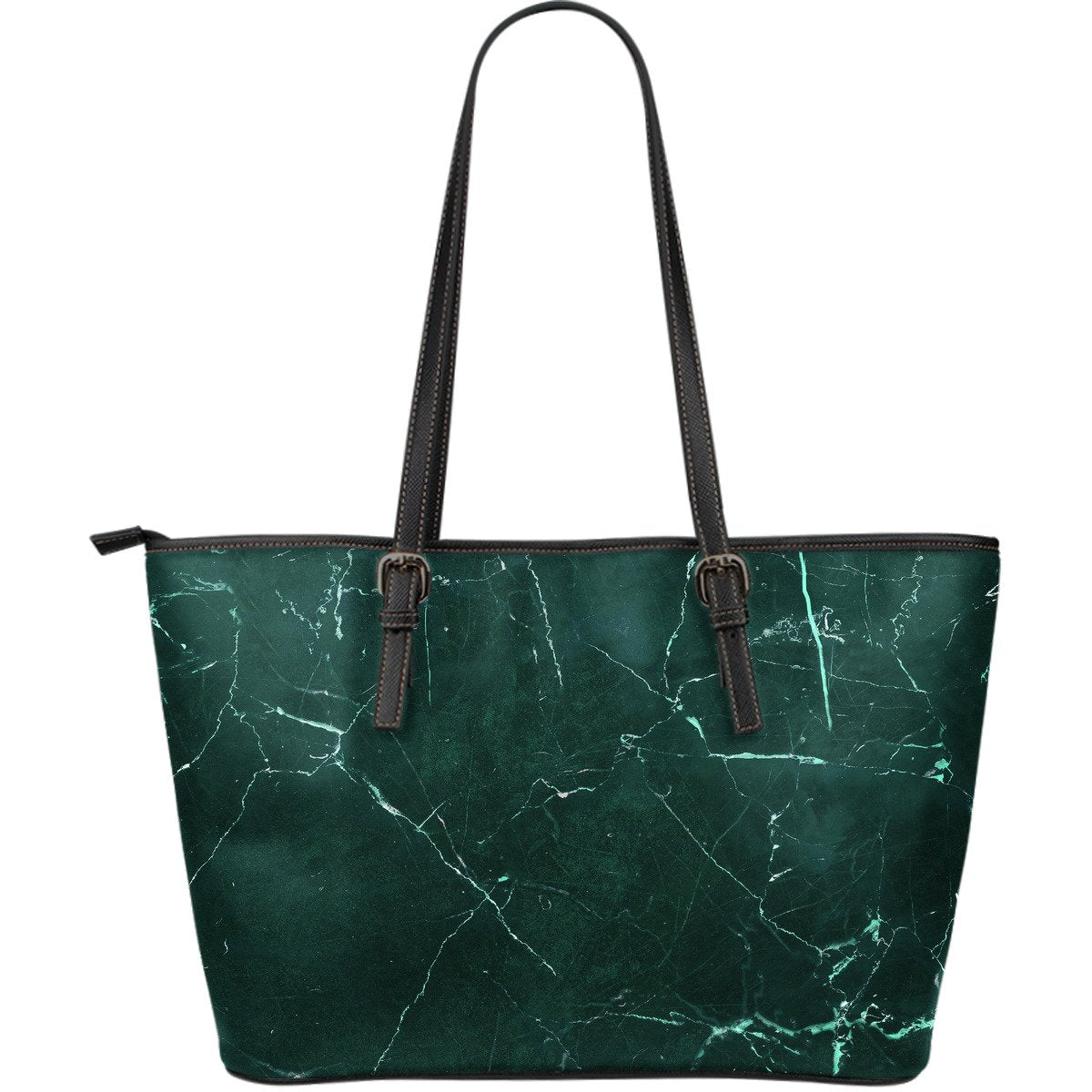 Dark Green Marble Print Leather Tote Bag GearFrost