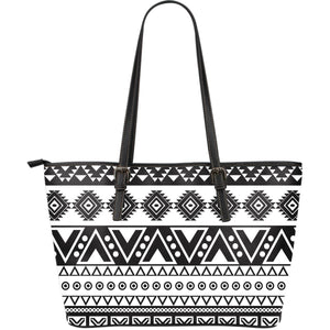 Dark Grey Aztec Pattern Print Leather Tote Bag GearFrost