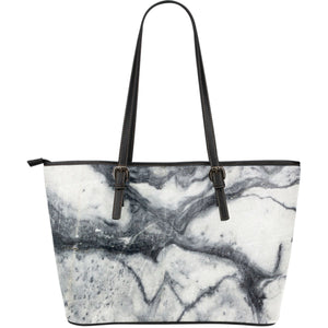 Dark Grey White Marble Print Leather Tote Bag GearFrost