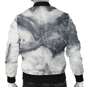 Dark Grey White Marble Print Men's Bomber Jacket GearFrost