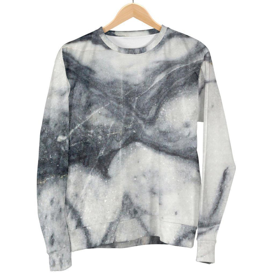 Dark Grey White Marble Print Men's Crewneck Sweatshirt GearFrost