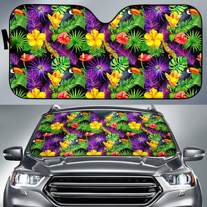 Dark Hawaiian Tropical Pattern Print Car Sun Shade GearFrost