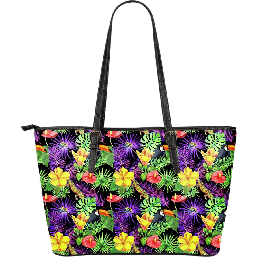 Dark Hawaiian Tropical Pattern Print Leather Tote Bag GearFrost