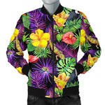 Dark Hawaiian Tropical Pattern Print Men's Bomber Jacket GearFrost