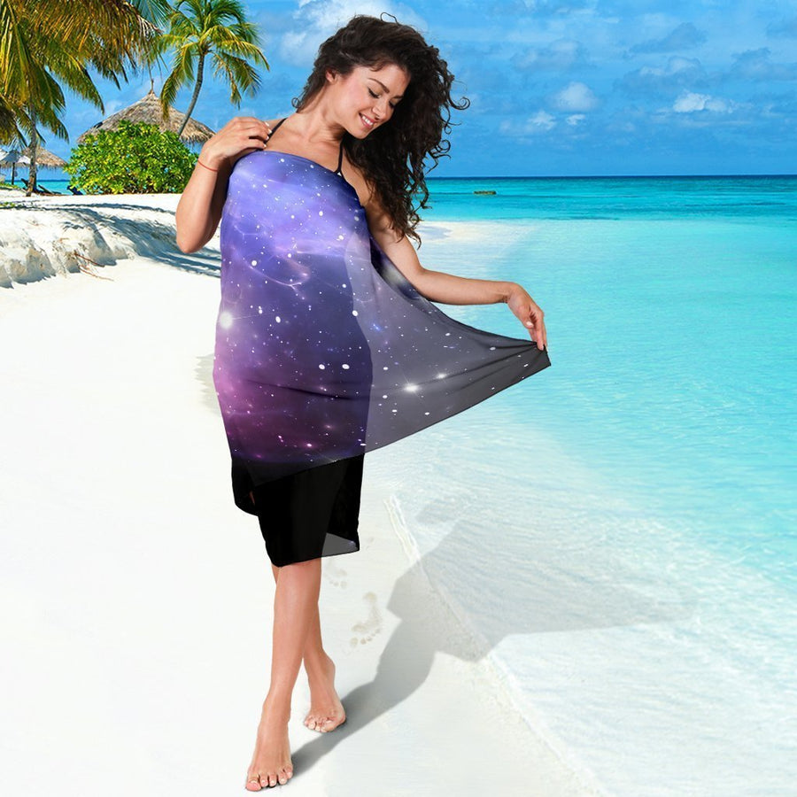 Dark Light Purple Galaxy Space Print Beach Sarong Wrap GearFrost