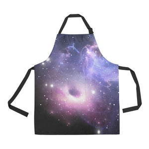 Dark Light Purple Galaxy Space Print Bib Apron With Pockets GearFrost