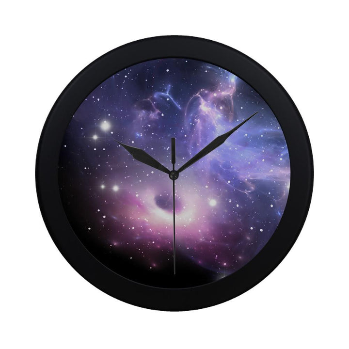 Dark Light Purple Galaxy Space Print Black Wall Clock GearFrost
