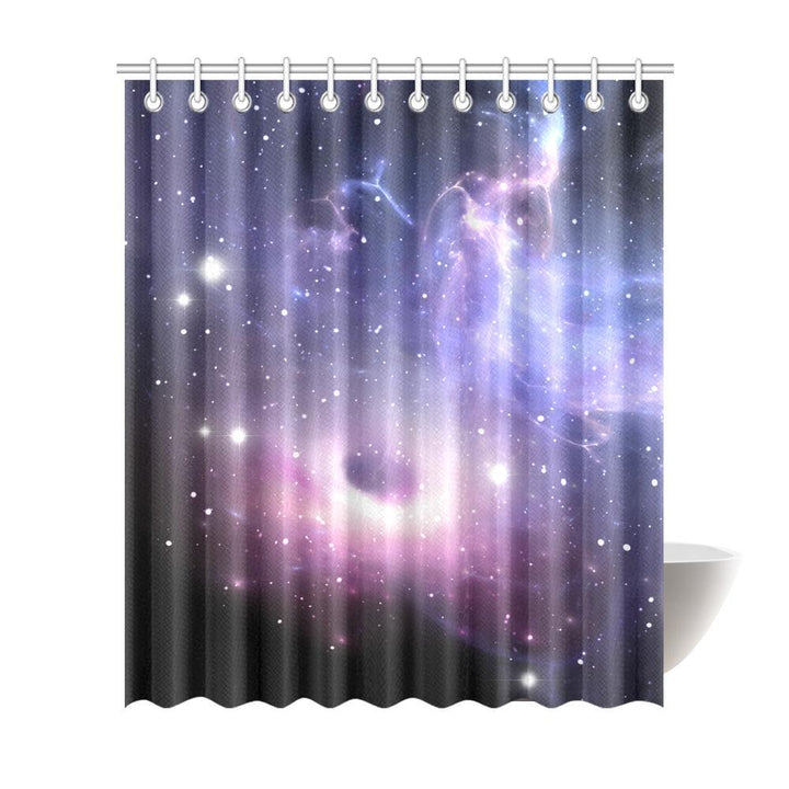 Dark Light Purple Galaxy Space Print Extra Long Shower Curtain GearFrost