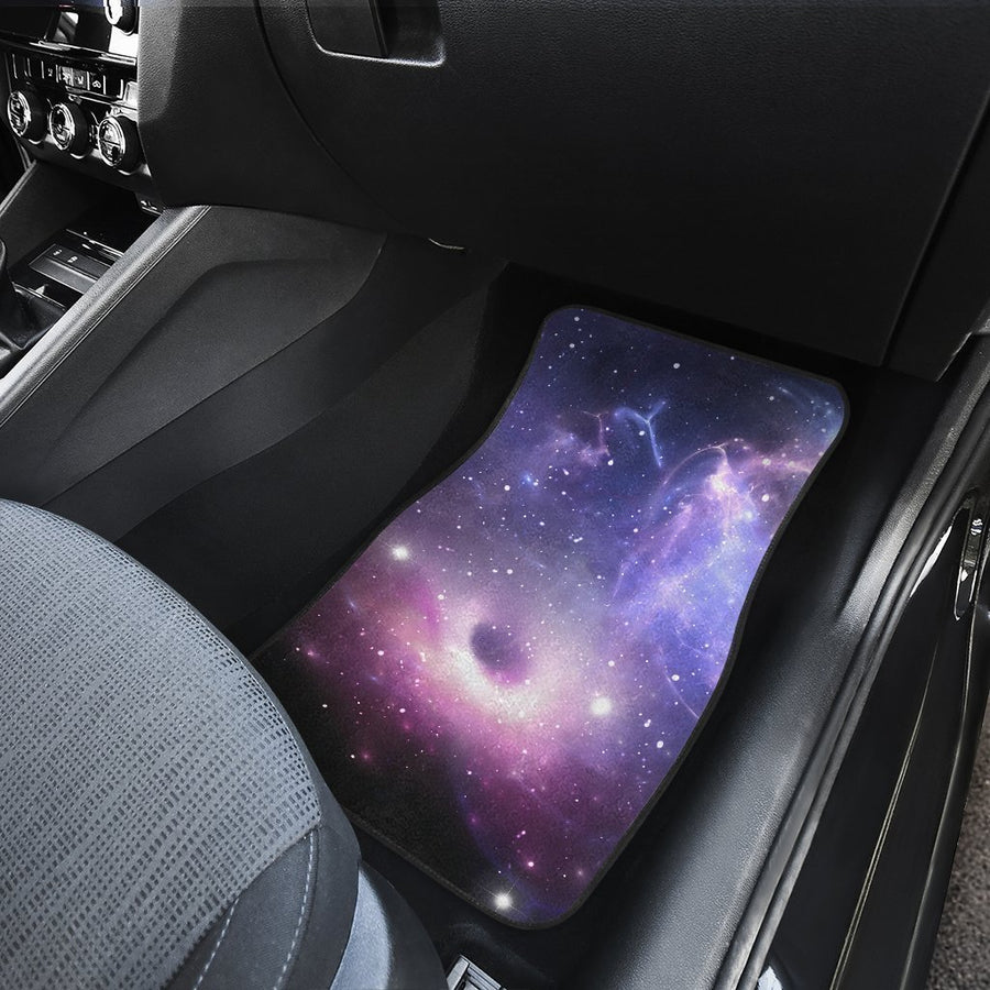 Dark Light Purple Galaxy Space Print Front Car Floor Mats GearFrost