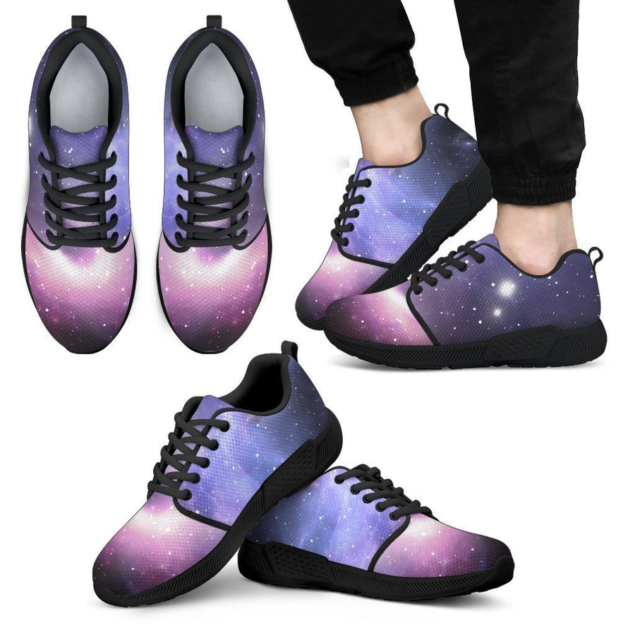 Dark Light Purple Galaxy Space Print Men's Athletic Shoes GearFrost