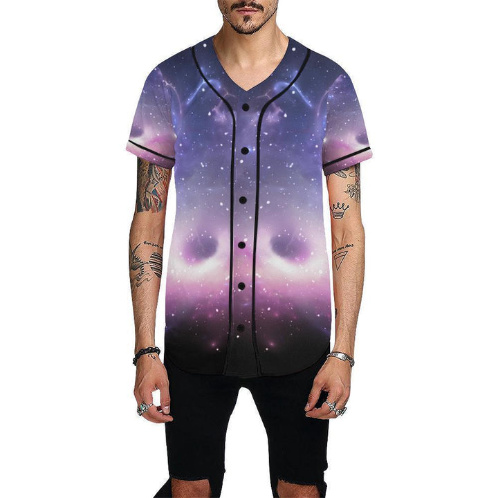 Dark Light Purple Galaxy Space Print Men's Baseball Jersey GearFrost
